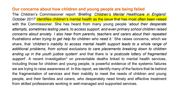 Mental Health Care for the young (Silent Catastrophe - Association of Child Psychotherapists)
